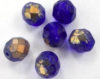 8mm Cobalt/Gold Fire Polished Bead (25 Pcs)  #GBF055