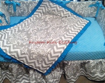 New 7 piece grey white DAMASK and CHEVRON baby crib bedding set w/ aqua minky dot fabrics
