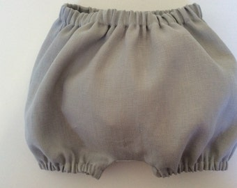 BABY BLOOMERS - LINEN - Bloomers Bubble Shorts - Pearl Grey -  Girl or Boy Sizes 3 months - 3 yrs.