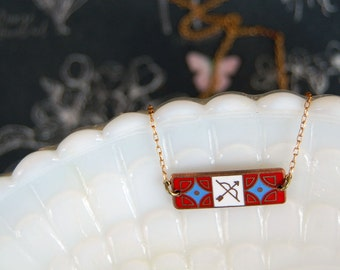 vintage enamel bow and arrow necklace - archer-Sagittarius zodiac - red and blue