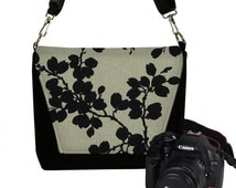Black Floral Nikon Camera Bag Dslr Camera Case Cute Slr Camera Bag for Women, crossbody bag, zipper pockets, Canon Sony etc RTS