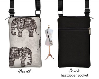 Fabric iPhone 6 / Plus Case Sling Bag Elephant Cell Phone Purse Small Cross Body Bag,  Zipper Pocket, gray black RTS