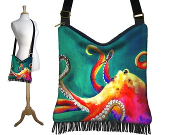 Clara Nilles Hippie Bag Hobo Purse Crossbody Slouch Bag Gyspy Boho Fringe Bag, Steampunk Octopus  zipper  teal green blue yellow RTS