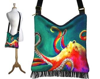 Clara Nilles Hippie Bag Hobo Purse Crossbody Slouch Bag Gyspy Boho Fringe Bag, Steampunk Octopus  zipper  teal green blue yellow MTO