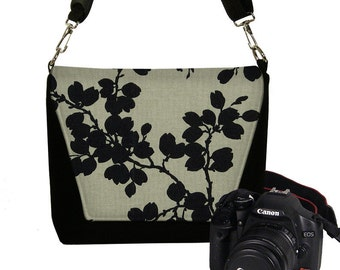 Black Floral Nikon Camera Bag Dslr Camera Case Cute Slr Camera Bag for Women, crossbody bag, zipper pockets, Canon Sony etc MTO