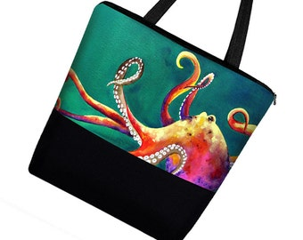 Clara Nilles Octopus  Large Tote Bag with Zipper / Boy Diaper Bag Baby / Canvas Tote Bag w/ Pockets / Book Bag green blue steampunk MTO