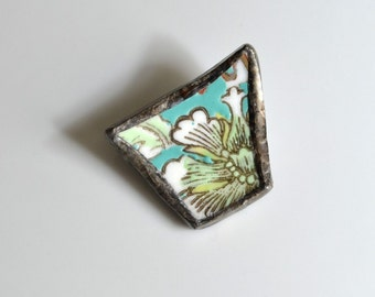 Broken China Brooch - Turquoise and Green Floral