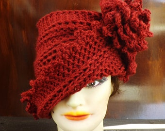 Autumn Red Cloche Hat, Womens Crochet Hat Womens Hat 1920s, Autumn Red Hat, Lauren 1920s Cloche Hat Crochet Flower