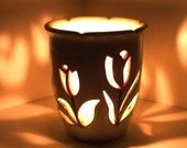 Wheel Thrown, Hand Carved Ceramic Candle Holder Tulip