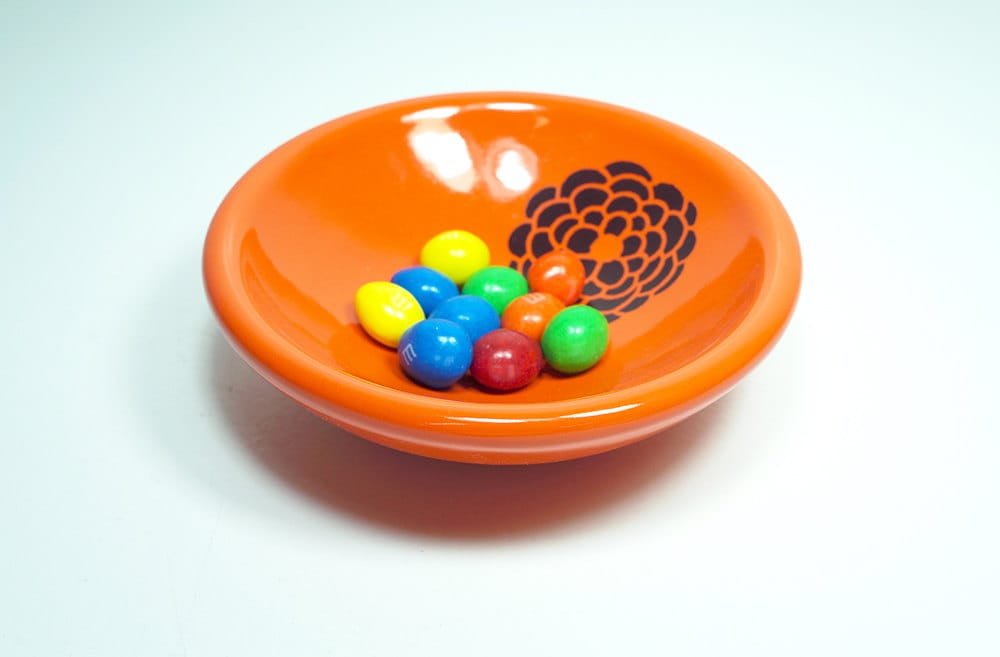 small dish, with a dahlia on clementine, made to order / pick your colour