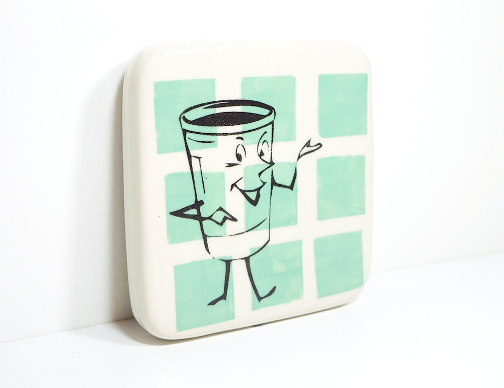 tile of a happy cup-of-something on blue green squares, made to order / pick your colour
