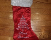 Personalized, Christmas Stocking, Christmas Decor, Monogrammed Stocking, Christmas Tree, Embroidered Christmas Stocking Red Velour