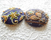 Bejeweled buttons, embellished buttons, beaded buttons, embroidered buttons, blue buttons, fabric covered buttons, size 75 buttons