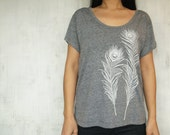 Womens tshirt with Peacock Feathers - Screen Printed - Eco Heather Gray