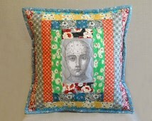 Quilted Pillow - Courthouse Steps with Phrenology Head - Feedsack & Novelty Prints