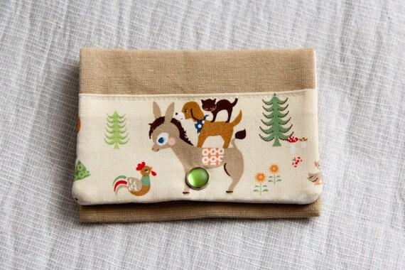 Card holder - woods - little girl - animals - green - brown - beige - snap - business cards - shopping cards - pillbox - handbag