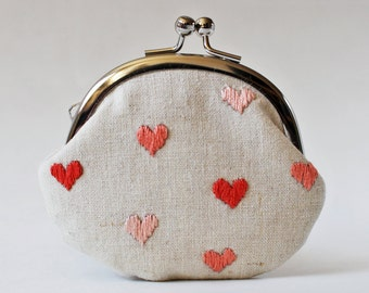 Pink hearts embroidered coin purse change purse kiss lock clasp purse valentine's day salmon pink natural linen peach embroidery love