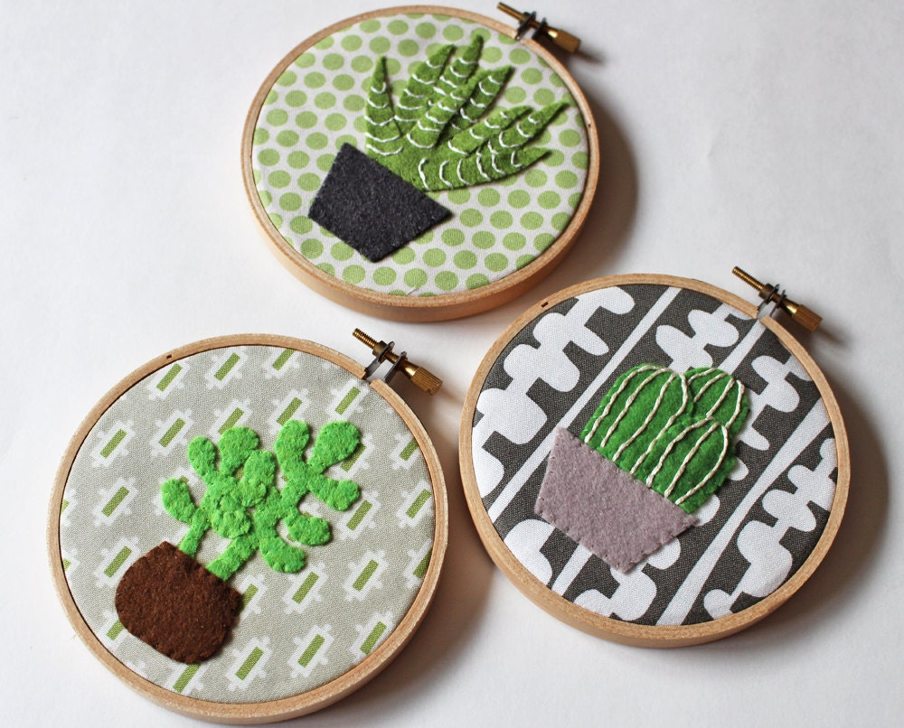 Cactus wall art embroidery hoop home decor cacti succulents
