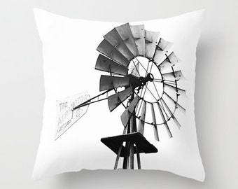 black and white rustic home decor, windmill throw pillow, photography pillow cover, country home decor, decorative throw pillow, farmhouse