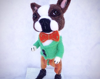 Theo the dapper Needle Felted Boston Terrier Doll Sculpture