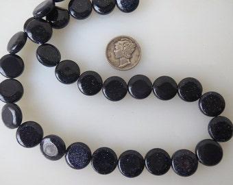 Blue Goldstone Coin Beads 12mm Half Strand