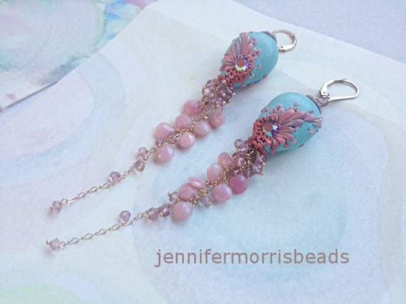 reserved for suzanne - collecting seashells - sweet peruvian opal earrings - balance for aqua version