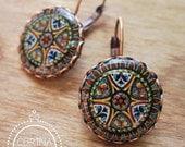 Italian Jewelry, Statement Earrings, Italian pottery design, vintage plate miniature, Handmade, copper lever back hook earrings, folk art