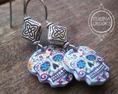 Mexican Earrings, Day of the Dead Vintage Tattoo design, Sugar Skull, turquoise marigold eyes, Mexican tile bead, Halloween jewelry