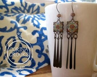 Long Dangle earrings, Mexican jewelry, Mexican Talavera tile drop earrings, Southwestern, Boho rustic rose, ethnic earrings