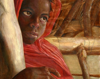 Figurative Oil Painting of Sudanese Girl - Figurative Art - Canvas or Paper Print