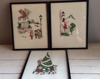 Christmas is for Giving Print Set.  Collection of 3.  John Walsh Auglund
