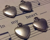Heart Charms - 20 pcs. - Tiny Heart Charms - Antique Silver Charm - 3D Heart Charm - Two Sided Charms - Charms - Silver Charms