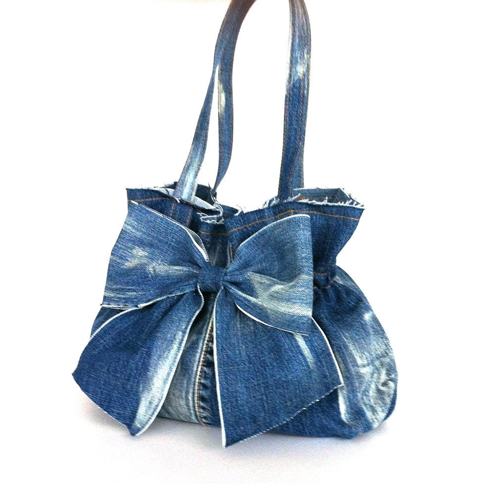 Jean purse recycled denim bow bag blue handbag Fabric