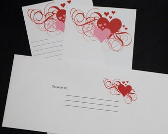 Scrolling Hearts, stationery set, letter writing set, hand written letters, 30 pieces, tall and skinny personal correspondence
