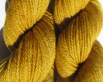 Hand Dyed Gold Baby Alpaca Yarn, Worsted Weight, 182 yards for Knitting, Weaving,  Crochet, Felting