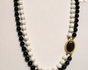 Vintage Milk Glass and  Black Glass Bead Necklace 16 inches Choker SALE