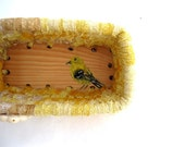 GOLDFINCH textile art Box BASKET  A Series of Birds