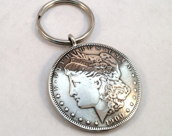 Coin Dollar Keyring made from Morgan Silver Dollar Coin Key Ring