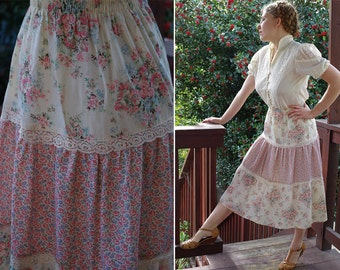 Country FLOWERS 1970's Vintage Cream + Pink Floral Prairie Skirt with Lace // by CAL TOGS // size Small