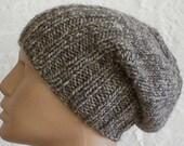 Watch cap brimmed beanie slouchy hat in silver grey tweed, men's hat, women's hat, knit slouchy hat, toque, biker cap, ski snowboard