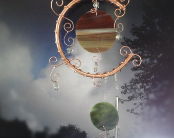 Stained Glass and Copper Wind Chime, Moon and Earth Garden Sculpture, Garden Art, Home Decor, Window Hanging, Porch Hanging, Celestial