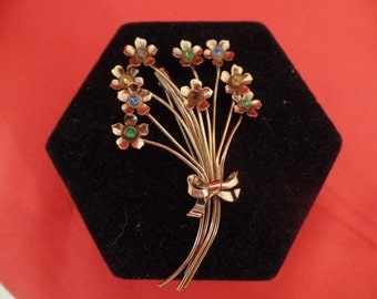 Vintage signed CORO Sterling floral brooch  SALE