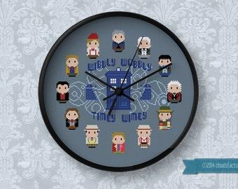 Doctor Who - 12 Doctors Clock - Cross stitch PDF pattern