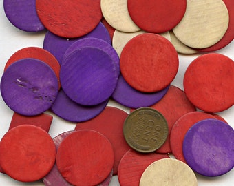 FRENCH Game PIECES BONE Antique Lot of (10) Round Yellow Dwarf Le Nain-Jaune Vintage Red Purple Natural 9915