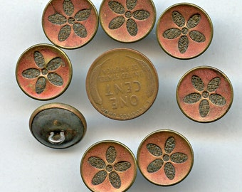 Victorian Perfume RED TINT Buttons Matching Set of (8) Antique Metal Fabric Background Flower 5/8 inch size 1183