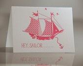 Letterpress Sailor Card