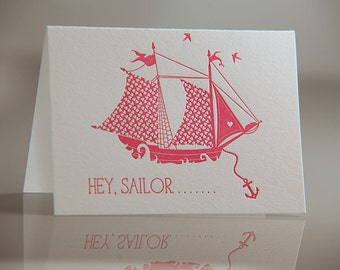 Hey Sailor Card - Pink Sailor Card - Nautical Love Card - Sailboat Card - Hey Sailor Letterpress Card