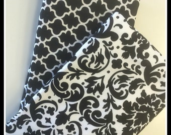 Black & White Damask and Geometric Print Boutique Style Burp Cloths - Set of 2