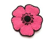 Large Pink Poppy, felt flower brooch