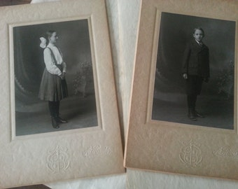 Sister Brother in Sunday's Best ... Two Antique Cabinet Cards